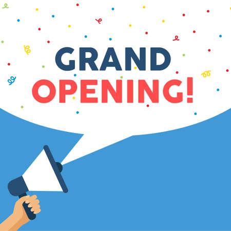 Grand opening banner information for businesses. Vector Ilustração