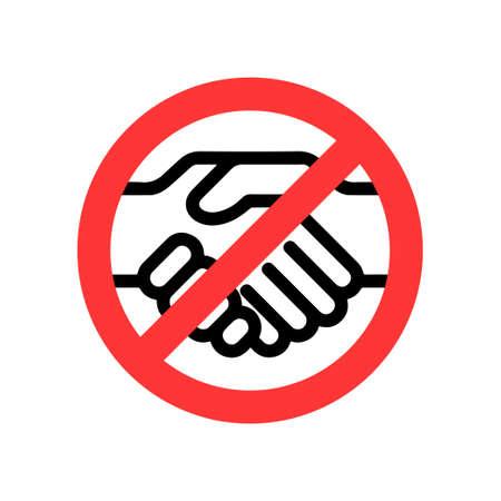 No handshake vector icon. Flat No handshake pictogram on white background