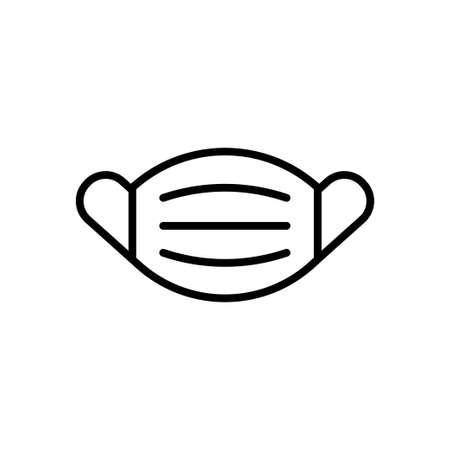 Medical mask line icon. Safety breathing respiratory mask sign. Coronavirus face protection symbol. Vector Illustration Ilustração