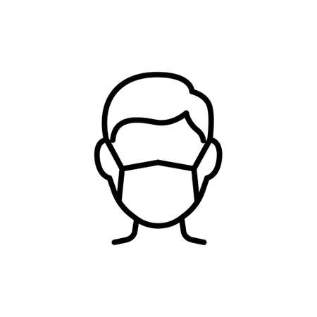 Man in face mask line icon, vector pictogram of disease prevention. Air pollution, dust, flu illustration, sign for medical equipment store.