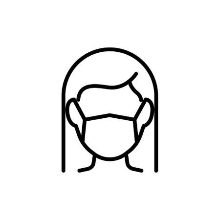 Women in face mask line icon, vector pictogram of disease prevention. Air pollution, dust, flu illustration, sign for medical equipment store.