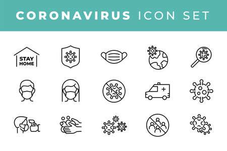 Coronavirus icon set for infographic or website. Novel Coronavirus 2019-nCoV. 2019 and 2020 epidemic