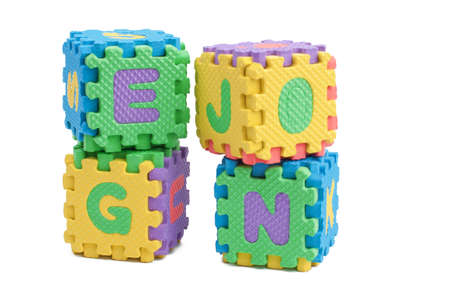 Foam letter cubes isolated on white