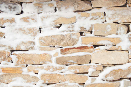 Stone wall pattern in winter photo