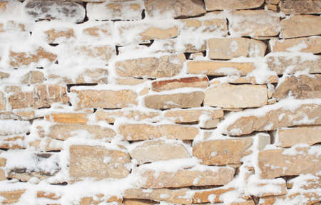 Stone wall pattern in winter