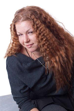 red head girl: Red head girl posing in studio Stock Photo