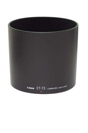 Black canon lens hood isolated