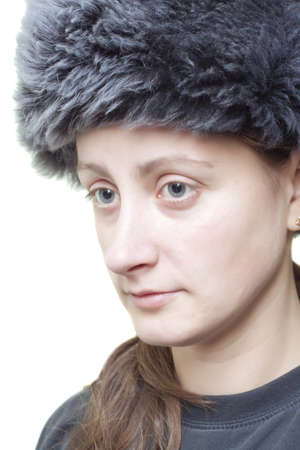 Woman with fluffy hat semi profile Stock Photo - 12464282