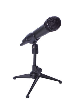 Black wireless mic on stand isolated