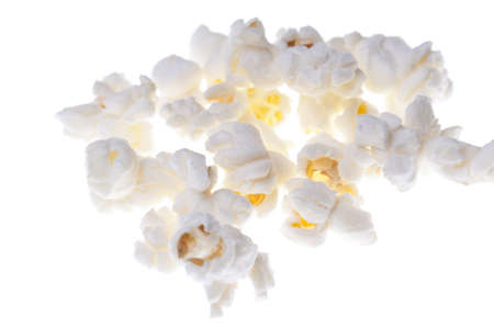Popcorn macro isolated on white photo