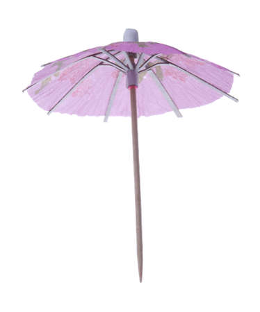 Pink coctail umbrella isolated on white Stock Photo
