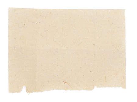 papier naturel: Jaune papier naturel pli� en huit. Isol� sur fond blanc.