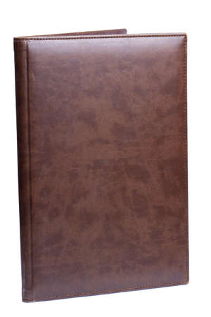 Brown leather folder isolated on white photo