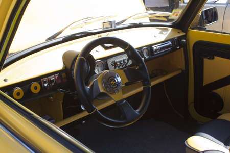 Tuning car interior. Dashboard gauges. photo