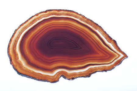 Red and yellow agate slice isolated on white
