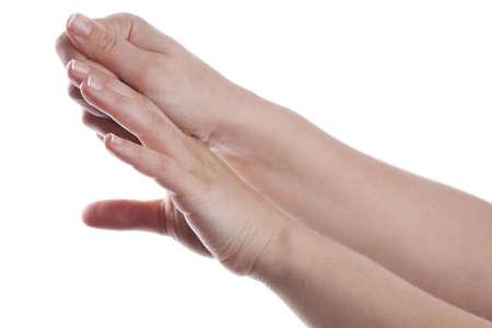 Woman applying cream to her hands  photo