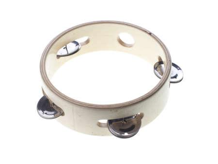 tambourine: Pandero de madera aislado en blanco Foto de archivo