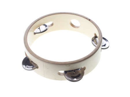 Wooden tambourine isolated on white Stock Photo