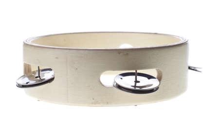 Wooden tambourine isolated on white Stock Photo - 13489704