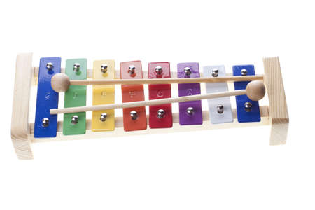 tuneful: Colorful xylophone isolated on white Stock Photo