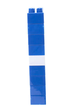 plastic bricks: Plastic bricks stack. Blue and white. Isolated