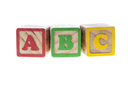 ABC with letter wooden cubes isolated on white