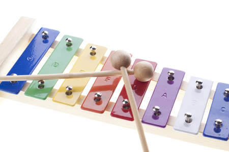 Colorful xylophone isolated on white Stock Photo