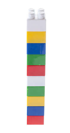 plastic bricks: Colorful stack of plastic bricks. Isolated on white.