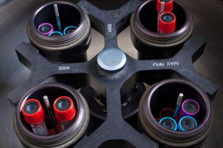 centrifuge: Rotating centrifuge loaded with blood samples Stock Photo