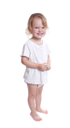 Little girl with organic diaper portrait  Isolated on white
