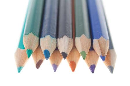 Arreglo de l�pices de colores aislados en blanco Foto de archivo - 14711896
