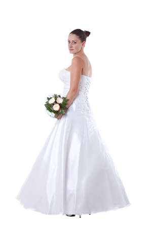Bride in white dress with bouquet isolated Stock Photo - 14680163