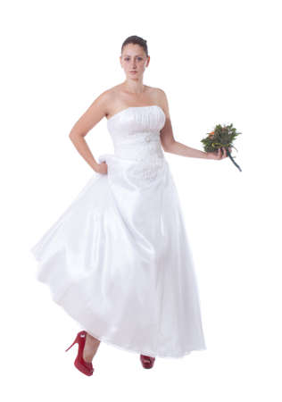 Bride in white with high heel red shoes Stock Photo - 14680162