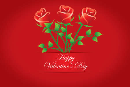 amore: Happy Valentine s day cards  Bouquet of red roses  Vectors