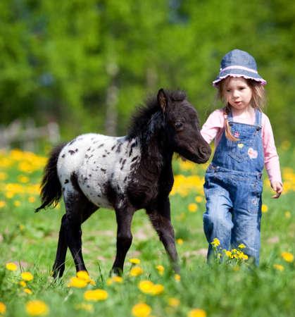 mujer en caballo: Ni�o y del potro en el campo. Foto de archivo