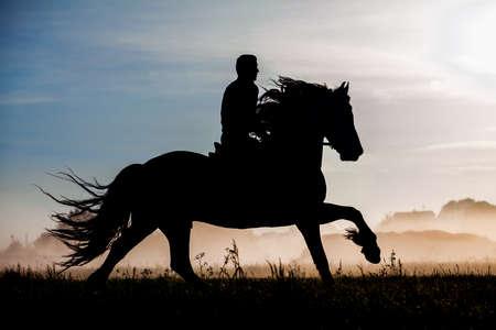 jinete: Silueta de jinete y caballo en el fondo de la puesta del sol Foto de archivo
