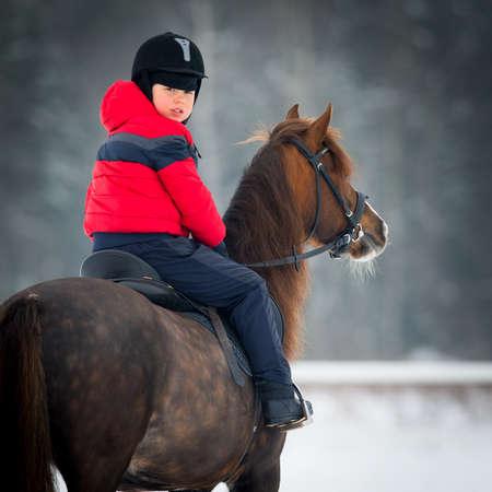 caballo jinete: Pequeño muchacho con un caballo en invierno - Equitación