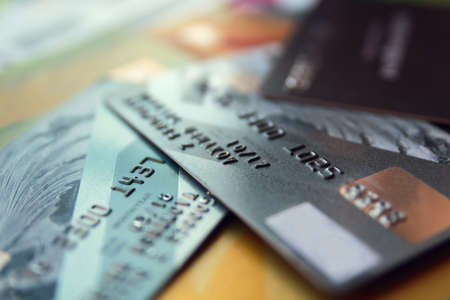 biz: credit cards, close up view with selective focus