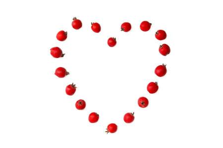 Hawthorn berries in heart shape
