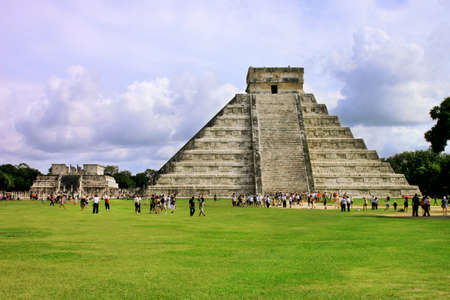 Temple of Kukulkan mayan Pyramid in Chichen Itza Site, Yucatan, Mexico. One of the new 7 wonders of the world. Editorial