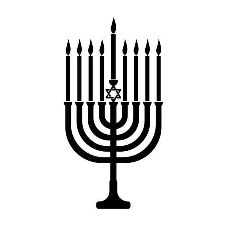 Hanukkah menorah vector icon for web design isolated on white background.