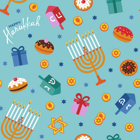 Happy Hanukkah seamless pattern with menorah, dreidels, gift boxes, hebrew letters, donuts, star David. Jewish Festival of Lights vector template. Imagens - 137755504