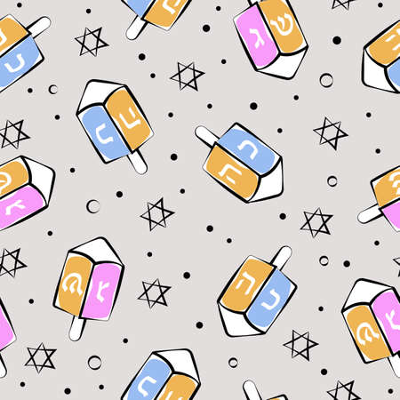 Happy Hanukkah seamless pattern with Dreidels and David stars.