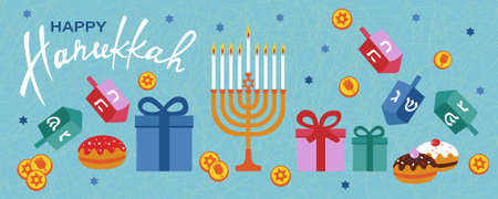 Happy Hanukkah horizontal banner with menorah, dreidels, gift boxes, hebrew letters, donuts, star David. Jewish Festival of Lights vector template.