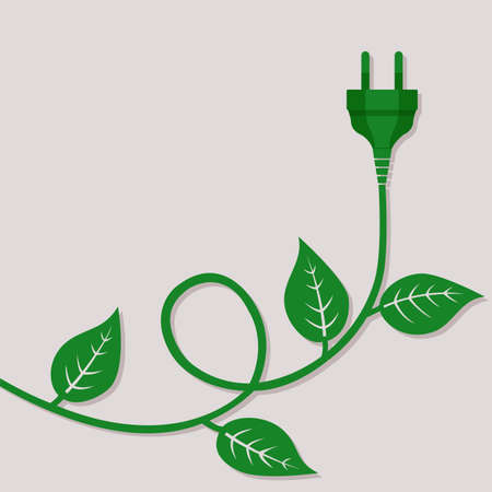 Green electric wire with a plug and leaves on it. Environmental conceptual background with copy space. Eco friendly world concept. Vector illustration, flat design.