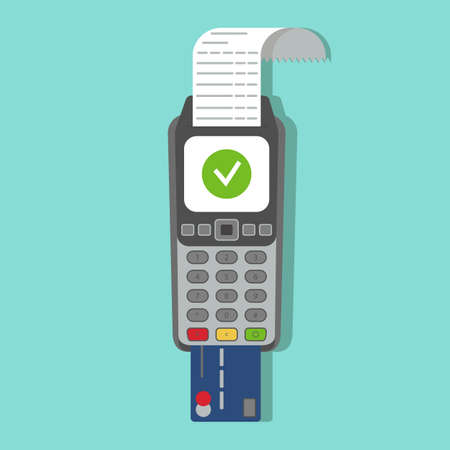 Payment terminal. POS machine with credit card in it and printed reciept. Vector illustration, flat style.