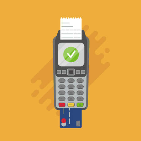 Payment terminal. POS machine with printed reciept and credit card. Vector illustration, flat style.