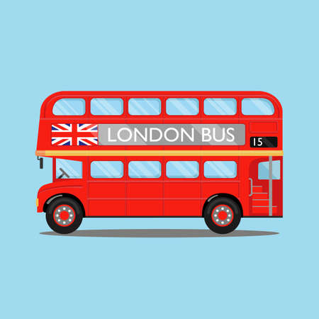 London city bus on blue backgound. Red double-decker bus, with British flag on it, side view. Vector illustration, flat style. Stok Fotoğraf - 137888403