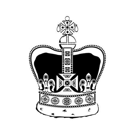 British royal symbol: the crown of the British Empire. Black and white vector illustration.