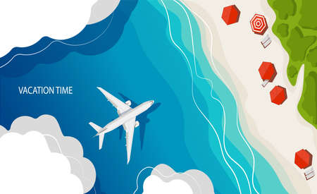 The airplane lands on a tropical island, top view. Summer travel background. Travel vacation concept. Vector illustration, flat style. Vectores